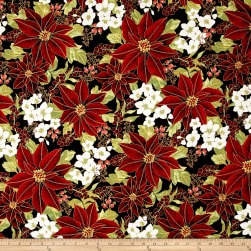 Winter Blossom Metallic Winter Floral Jet/Gold Fabric