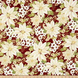Winter Blossom Metallic Winter Floral Scarlet/Gold Fabric