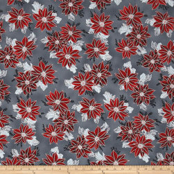 Winter Blossom Metallic Spaced Poinsettia Charcoal/Silver Fabric
