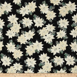 Winter Blossom Metallic Spaced Poinsettia Onyx/Silver Fabric