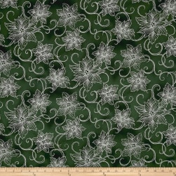 Winter Blossom Metallic Poinsettia Silhouette Green/Silver