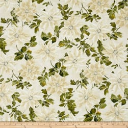 Winter Blossom Metallic Large Poinsettia Papyrus/Silver Fabric