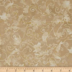 Autumn Air Metallic Blustery Day Natural Fabric