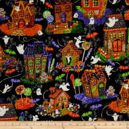 Spooky Snacks Halloween Gingerbread Houses Midnight Fabric