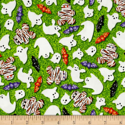Spooky Snacks Creepy Confections Electric Green Fabric
