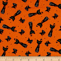 Happy Owl-O-Ween Scary Kitty Toss Pumpkin Orange Fabric