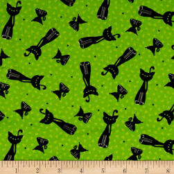 Happy Owl-O-Ween Scary Kitty Toss Ghoulish Green Fabric