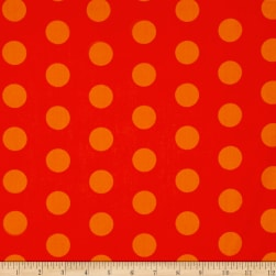 Happy Owl-O-Ween Big Ol Dots Pumpkin Orange Fabric