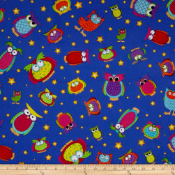Happy Owl-O-Ween Owls Everywhere Toss Midnight Blue Fabric