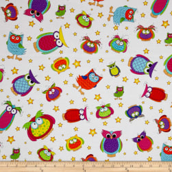 Happy Owl-O-Ween Owls Everywhere Toss Ghost White Fabric