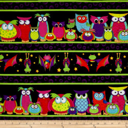 Happy Owl-O-Ween Parliament Of Owls Border Stripe Bat
