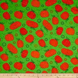 Happy Owl-O-Ween Pumpkin Patch Ghoulish Green Fabric