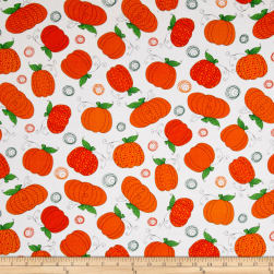 Happy Owl-O-Ween Pumpkin Patch Ghost White Fabric