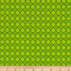 Dino Daze Scales Green Fabric