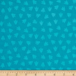 Dino Daze Footprints Teal Fabric
