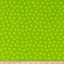 Dino Daze Footprints Green Fabric