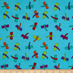Dino Daze Dragonflies Teal Fabric