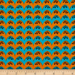 Dino Daze Bumps Teal/Orange Fabric