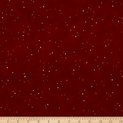 Shiny Objects Metallic Holiday Twinkle Flurries Cranberry Fabric