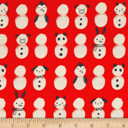 Cotton + Steel Noel Snow Babies Red Fabric