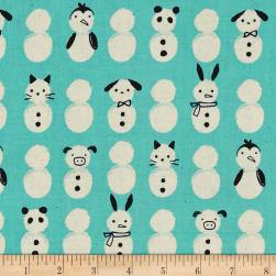 Cotton + Steel Noel Snow Babies Mint Fabric