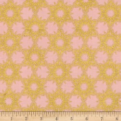 Cotton + Steel Noel Metallic Golden Flakes Pink
