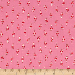 Cotton + Steel Noel Candy Canes Pink Fabric