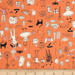 Cotton + Steel Lil' Monsters Party Orange Fabric