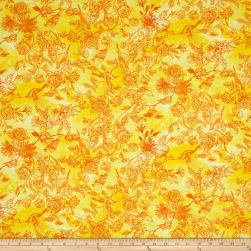 Timeless Treasures Petal Party Bird Toile Citrus Fabric
