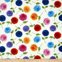 Timeless Treasures Petal Party Tossed Dahlia Ecru Fabric