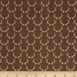 Timeless Treasures Wilderness Antlers Brown Fabric