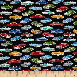 Timeless Treasures Mini's Classic Cars Black Fabric