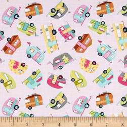 Timeless Treasures Mini's Campers Pink Fabric
