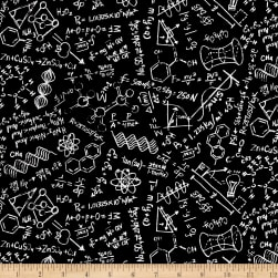 Timeless Treasures Scientific Method Chalkboard Black Fabric