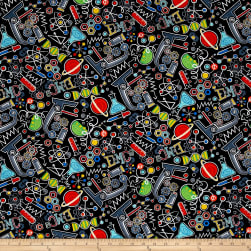 Timeless Treasures Scientific Method Chemistry Black Fabric