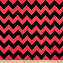 Dobby Crepe Chevron Black/Coral Fabric