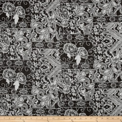 Hi-Multi Chiffon Paisley Black/White Fabric