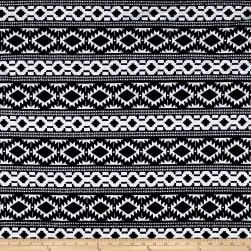 Quilted Knit Aztec Tribal Stripes Black/White Fabric