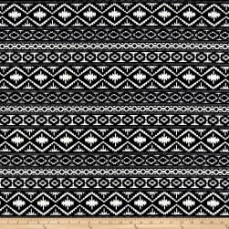 Quilted Knit Aztec Diamond Stripes Black/White