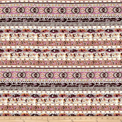 Peachskin Geo Bohemian Off-White/Pink/Purple Fabric