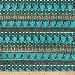 Peachskin Geo Bohemian Aqua/Teal/Off-White/Green Fabric