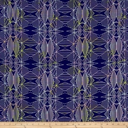 Crepe De Chine Geometrics Navy/Purple/Yellow Fabric