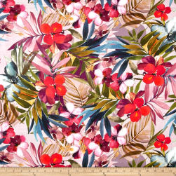 Telio Digital Printed Linen Tropical Floral Multi Fabric