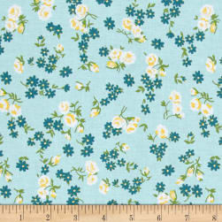 Riley Blake Dainty Darling Daisy Aqua Fabric