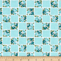 Riley Blake Dainty Darling Squares Aqua Fabric