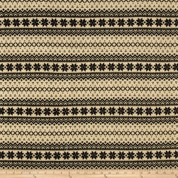 Brushed Hatchi Sweater Knit Fair Isle Black/Tan Fabric