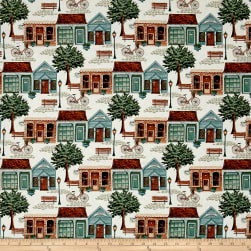 Bookshop City Scene Ivory Fabric