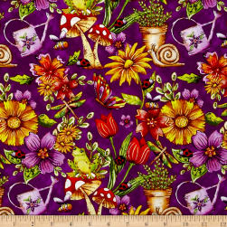 Garden Glory Garden Allover Purple Fabric