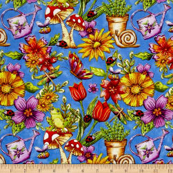 Garden Glory Garden Allover Blue Fabric