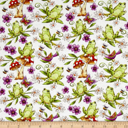 Garden Glory Frogs White Fabric